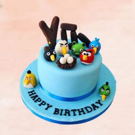 Bluish Angry Bird Cake